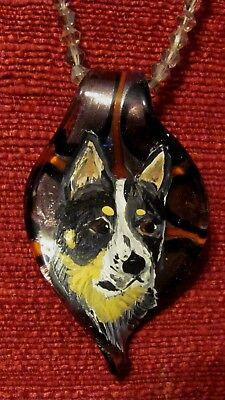 Australian Cattle Dog hand painted on Murano glass leaf pendant/bead/necklace