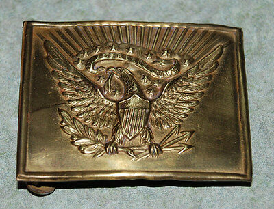 Antique Early 1900's Cadet Marching Band Brass Eagle Belt Buckle E Pluribus Unum