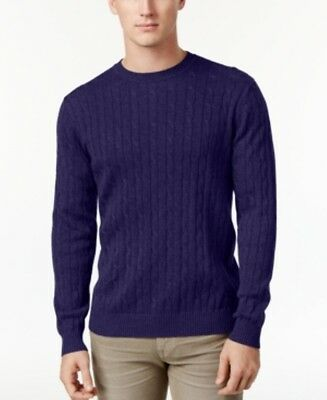 Club Room Pima Cotton Cable Knit Sweater Navy Blue Mens Size Small