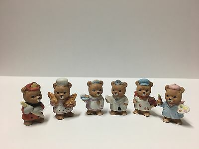Six HOMCO Home Interiors Career Teddy Bears Figurines Occupations 8820