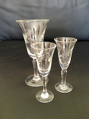 Three piece set; clear crystal cordial glasses & wine glass with etched pattern