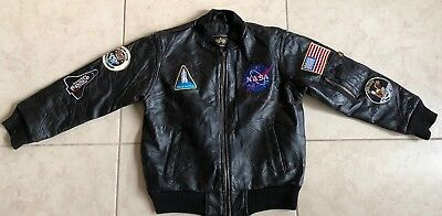 Alpha Industries Bomber Nasa Space Command Apollo Leather Jacket Youth Small