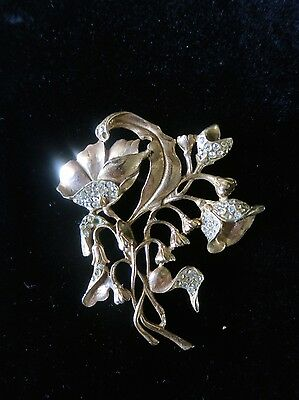 Antique Art Nouveau Large Cast Brass Floral Fur Brooch / Pin w/ Austrian Crystal