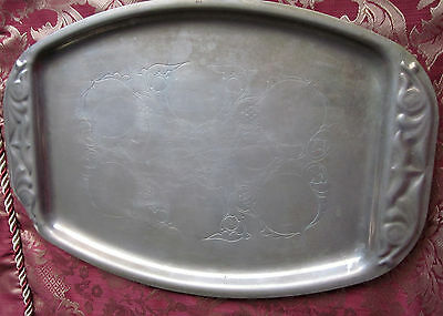 ANTIQUE BRASS TRAY WITH ETCHED FLORAL FRUIT MOTIF Arts and Crafts Era