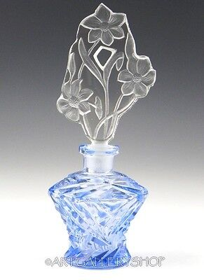 Vintage Bohemian Czech Crystal Blue Cut To Clear Perfume Bottle Flask Art Deco