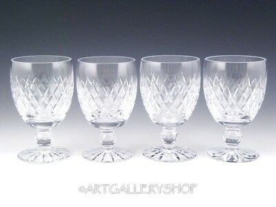 "Waterford Ireland Crystal BOYNE CUT 5-1/4"" WINE WATER GOBLETS GLASSES Set of 4"