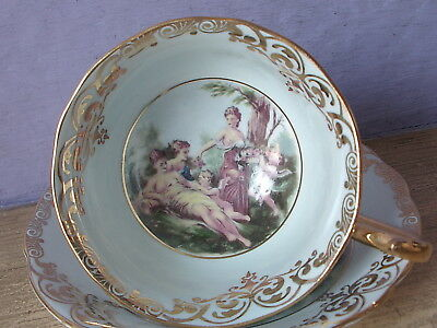 Vintage England blue gold Neoclassical scene cherub bone china Tea Cup teacup