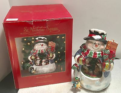 St. Nicholas Square Musical Animated Snowman In Box Beautiful