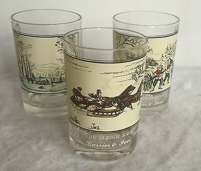 Set Of 3 Currier And Ives Arby's Glasses