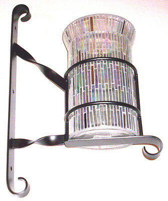 Mosaic Hurricane Candle Holder with Handmade Metal Sconce Bracket - Made in USA!