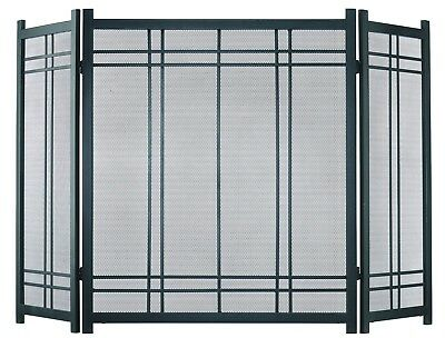 """Fireplace Screen 3 Panels Handles Vintage Iron 52""""length x 31"""" height Sturdy"""