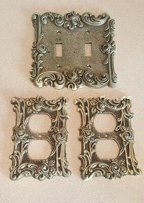 VTG 1967 American Tack Hardware Ornate LIGHT SWITCH OUTLET COVERS ROSES BRASS