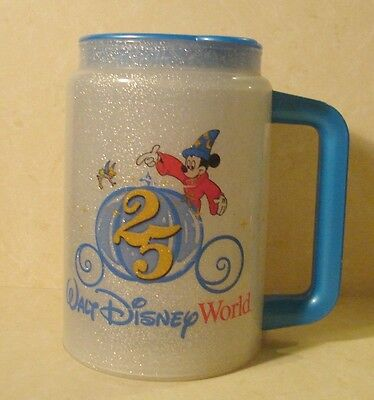 Walt Disney World 1996 25th Anniversary Logo Sorcerer Mickey   Drink Cup Mug