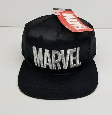 248e078f347 Marvel Silver Embroidered Logo Snapback Hat Cap One Size Fits All BLACK NWT  NEW