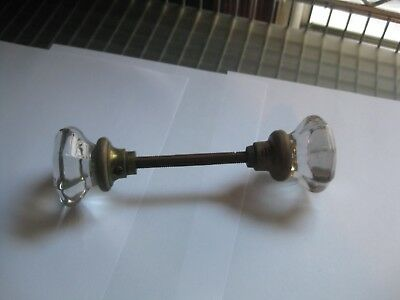 Vintage Door Knobs Crystal Style and Brass Unmatched Pair
