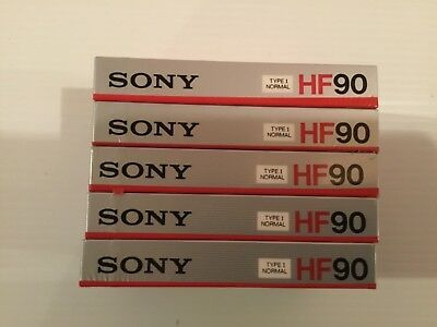 5 x Sony HF 90 | Blank Audio Cassette Tapes Type 1 New Sealed