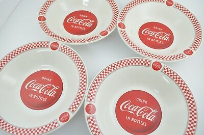 Gibson Coca Cola Bowls Set of 4 Red Logo Ceramic Cereal Salad Dessert 8""