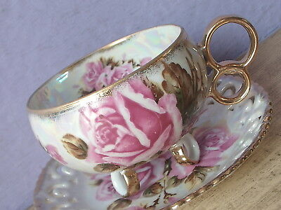 Vintage Made in Japan iridescent footed large pink roses china tea cup teacup