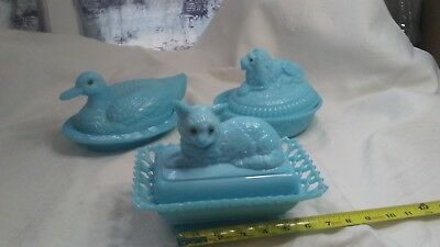 3 piece lot Westmoreland Rare Blue Milk Glass Cat  Duck and  Lion Candy Dishes