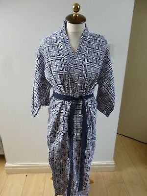vintage  Oriental blue abstract cotton lined  kimono gown/robe & belt one size