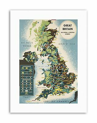 MAP UNITED KINGDOM NORTH SEA GREAT BRITAIN NATURAL INDUSTRIAL RESOURCES Poster