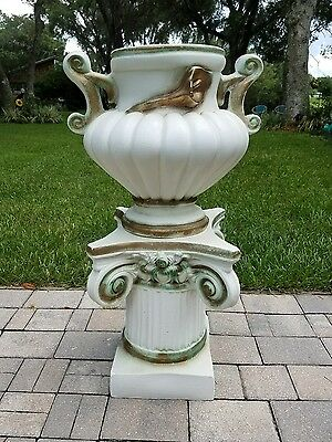 Vintage ornate urn and pedestal stand garden decor Mid-Century