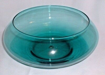 Vintage Riekes Crisa Hand Blown Teal Crystal Center Bowl With Label HTF Color