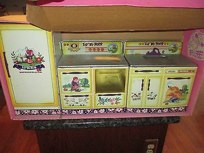 Vintage Little Bo Peep Tin 3  Piece Wolverine Toy  Kitchen Set #562 Orig Box