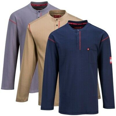 Mens FR01/02 Flame Resistant Shirt 7oz Crew Neck/Button Down Gray, Khaki or Navy