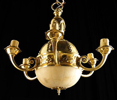 Antique French empire style bronze and alabaster chandelier (1131)