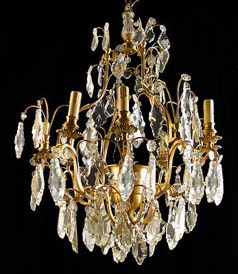 Antique French Luis XV style bronze and glass chandelier Carved glass (1134)