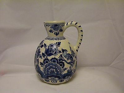 Velsen pottery Ribbed Jug blue and white hand painted floral decoration