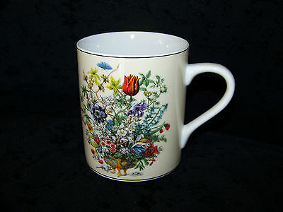 "Andrea by Sadek ""Winterthur"" Coffee Tea Mug Multi-Color Floral Print Black Trim"