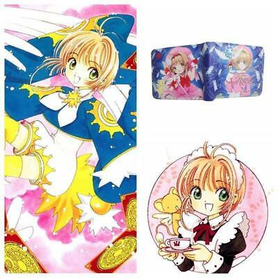 Card Captor Sakura Kinomoto Wallet Purse Anime Blue Short Bifold Card Holder Toy