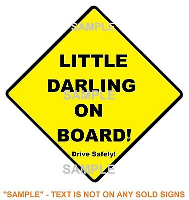 LITTLE DARLING ON BOARD - Traditional Sign  Peel Off Strips - Aussie - FREE POST