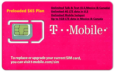 First Month $75 T-Mobile One Unlimited 4G LTE Plan Preloaded Prepaid SIM Card