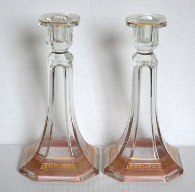 Pair Vintage Tall Elegant Depression GLASS CANDLEHOLDERS Candlesticks Pink Clear