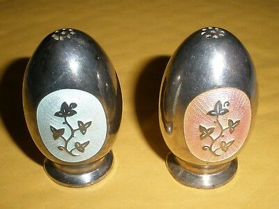 MEKA DENMARK Sterling Silver White and Pink Salt Shakers Missing Bottoms