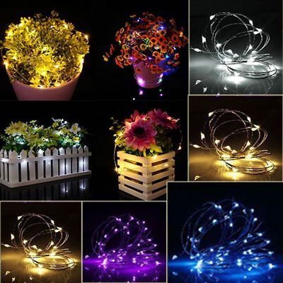 2/5/10M BUTTON BATTERY Operated LED Copper Wire String Fairy Lights ...