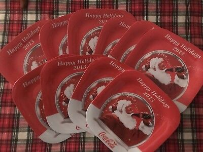 Collectible Coca-Cola Happy Holidays 2013 Square Coke Plate Santa Christmas