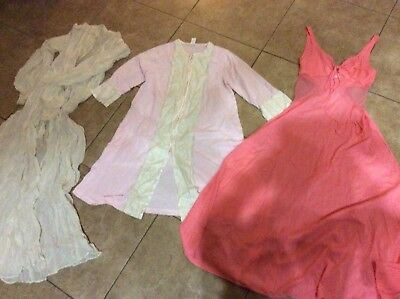 Lot Vintage Nightgowns, robes 3 pieces (one French made silk?)