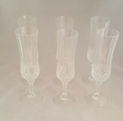 VINTAGE SIX CRYSTAL D'ARQUES Champagne Flutes  MADE IN FRANCE