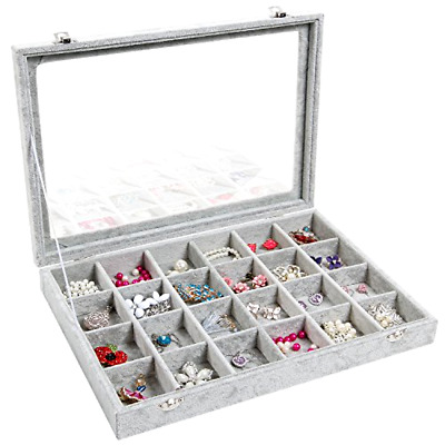 Jewelry Tray Showcase Display Storage Valdler Clear Lid 24 Grid composite board