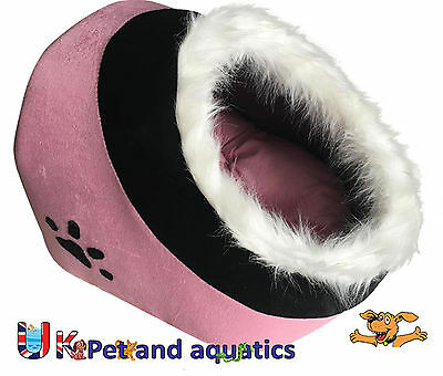 Hooded Cat Bed Cave With Fur, Pink 43cm