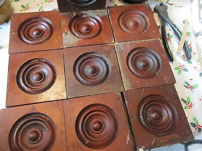 Vintage set of 10  bullseye corner block rosettes, STAINED APPROX 4 X 4