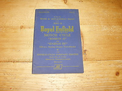 Spare & Replacement Parts List for Royal Enfield Ensign 11&111 148cc Illustrated