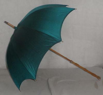 Vintage Gold Plate Wooden Shaft Umbrella With Carved Handle With Green Canopy