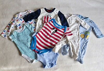 X7 Baby Boy Clothes Bundle 0-6 Months (NEXT, M&S, TU) Disney Vests Grow Newborn