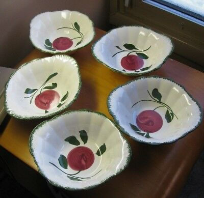 "LOT 5 Blue Ridge APPLE TRIO Lugged Soup Cereal Bowl Bowls 7"" Colonial Shape"