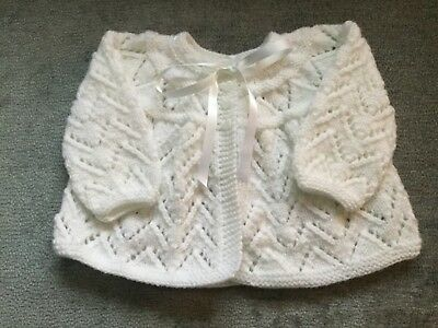 Hand Knitted Girls White Cardigan 0-6 Months